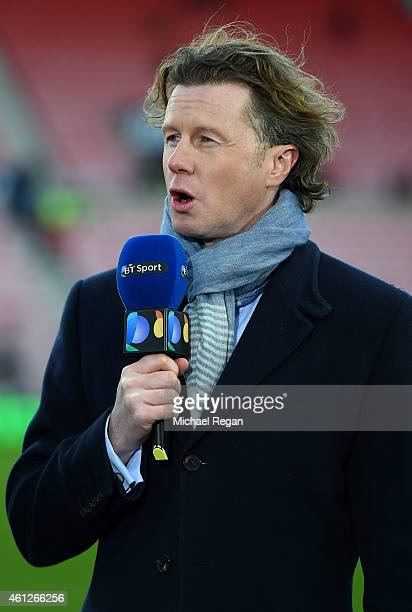 Former football player Steve McManaman speaks during a TV broadcast before the Barclays Premier League match between Sunderland and Liverpool at...