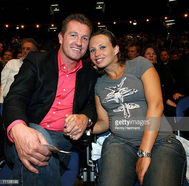 Former football player Thomas Strunz and his pregnant girlfriend Stephanie Biastoch looks on during the during the WBA World Heavyweight Championship...