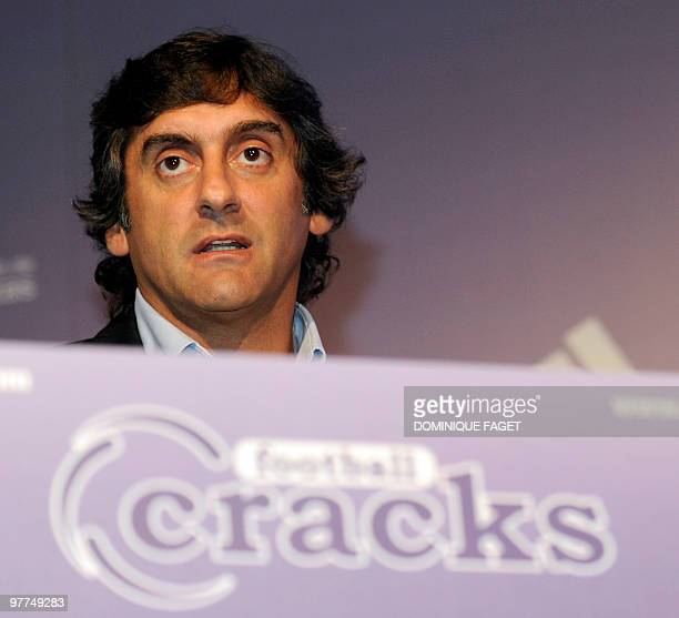 Former football player Uruguayan Enzo Francescoli attends the presentation of the 'Football Cracks' reality show in Madrid on March 15 2010...