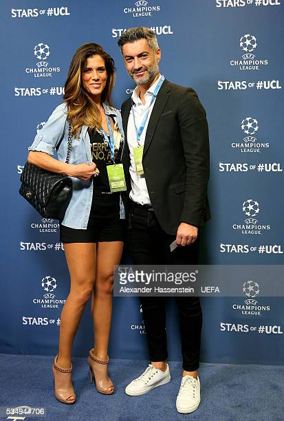Former football player Vítor Baia and guest attend the UEFA Champions League Final between Real Madrid and Club Atletico de Madrid at Stadio Giuseppe...