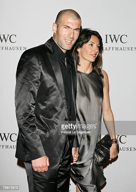 Former football player Zinedine Zidane and wife Veronique arrive to attend the IWC Da Vinci Launch party held at the Geneva Palaexpo on April 17 2007...