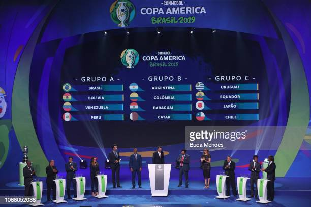 Former football players Francisco Maturana Zico Javier Zanetti Marta Cafu Romerito Ze Roberto and Diego Lugano present the final groups for Copa...