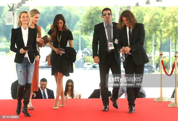 Former football players Luis Figo and Carles Puyol arrive at the stadium prior to the 2018 FIFA World Cup Russia group A match between Russia and...