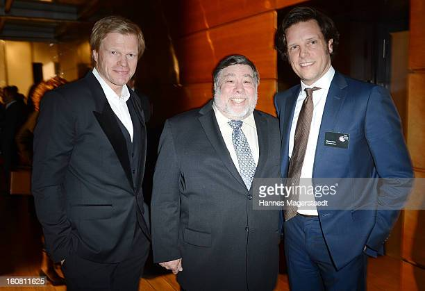 Former football star Oliver Kahn Steve Wozniak cofounder Apple and general manager of Serviceplan Florian Haller attend the Best Brands 2013 Gala at...