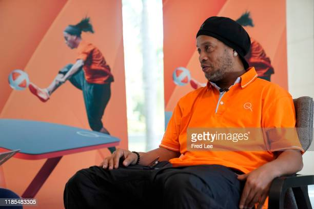 Former football star Ronaldinho attends an interview about teqball as The International Teqball Federation celebrate one year until the Sanya Asian...