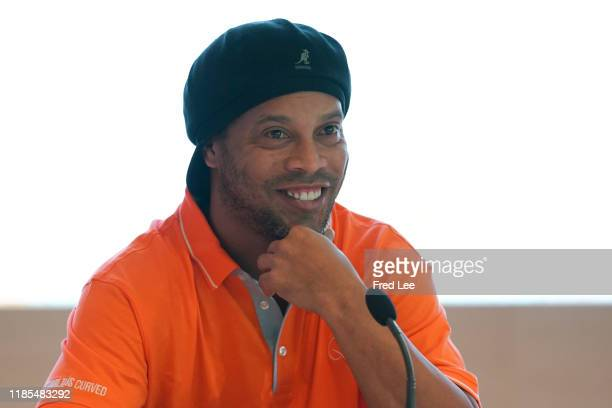 Former football star Ronaldinho attends Press Conference as The International Teqball Federation celebrate one year until the Sanya Asian Beach Games...