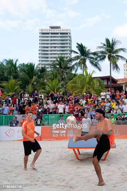Former football star Ronaldinho plays Teqball as The International Teqball Federation celebrate one year until the Sanya Asian Beach Games at The...