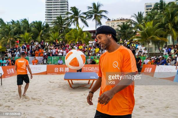 Former football star Ronaldinho plays Teqball during the International Teqball Federation on November 29 2019 in Sanya China