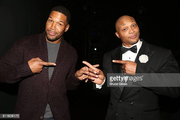 Former Football stars Michael Strahan and Eddie George pose backstage at the hit musical Chicago on Broadway at The Ambassador Theatre on February 21...