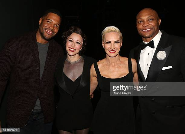 Former Football stars Michael Strahan and Eddie George pose backstage with Paige Davis and Amra Faye Wright at the hit musical Chicago on Broadway at...