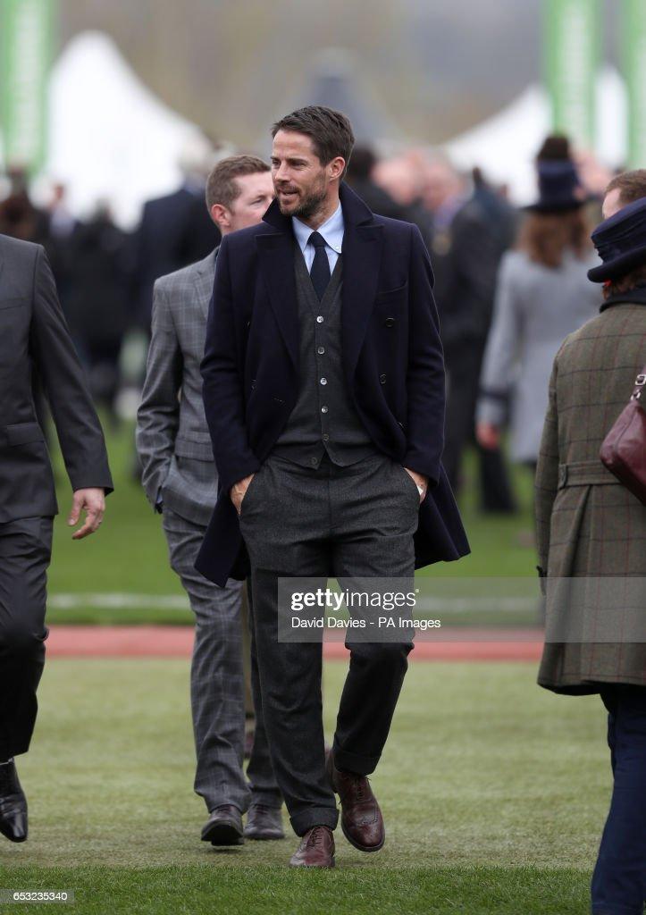 Former footballer and horse owner Michael Owen during Champion Day of the 2017 Cheltenham Festival at Cheltenham Racecourse.