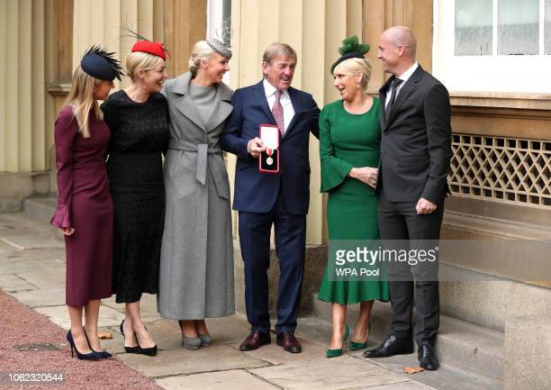 Former footballer and manager Sir Kenny Dalglish poses with his daughters Lauren Dalglish Kelly Cates and Lynsey Robinson and wife Marina Dalglish...