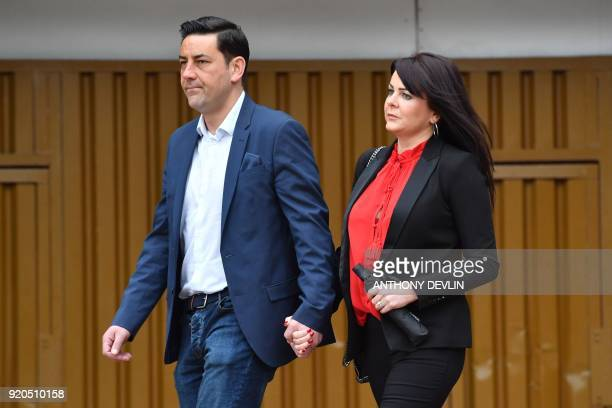 former footballer and victim of abuse Andy Woodward arrives with his partner Zelda at Liverpool Crown Court on February 19 2018 for the sentencing of...