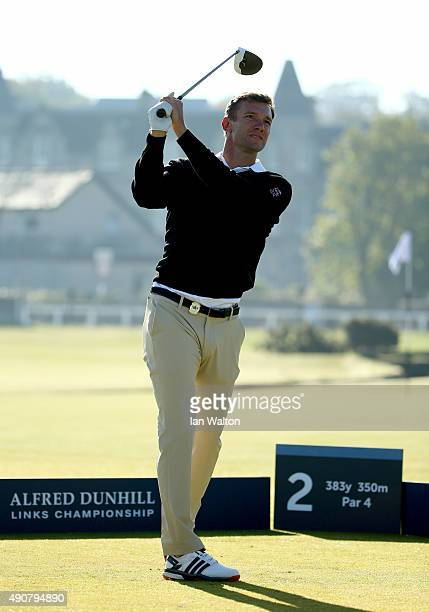 Former footballer Andriy Shevchenko hits a driver off the second tee during the first round of the 2015 Alfred Dunhill Links Championship at The Old...