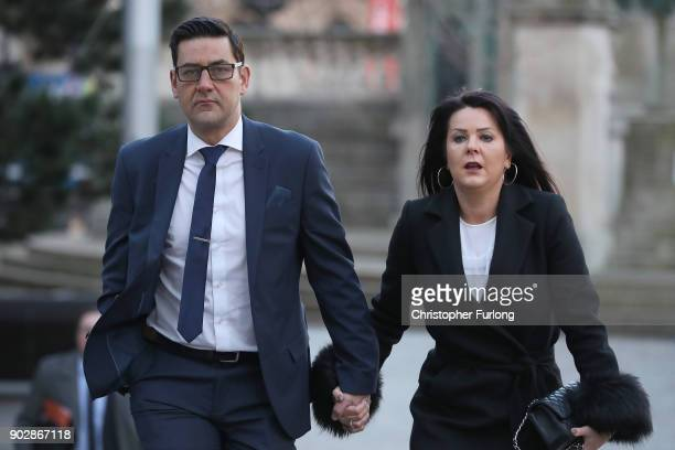Former footballer Andy Woodward and partner Zelda Worthington arrive at Liverpool Crown Court for the trial of former Crewe Alexandria FC coach Barry...