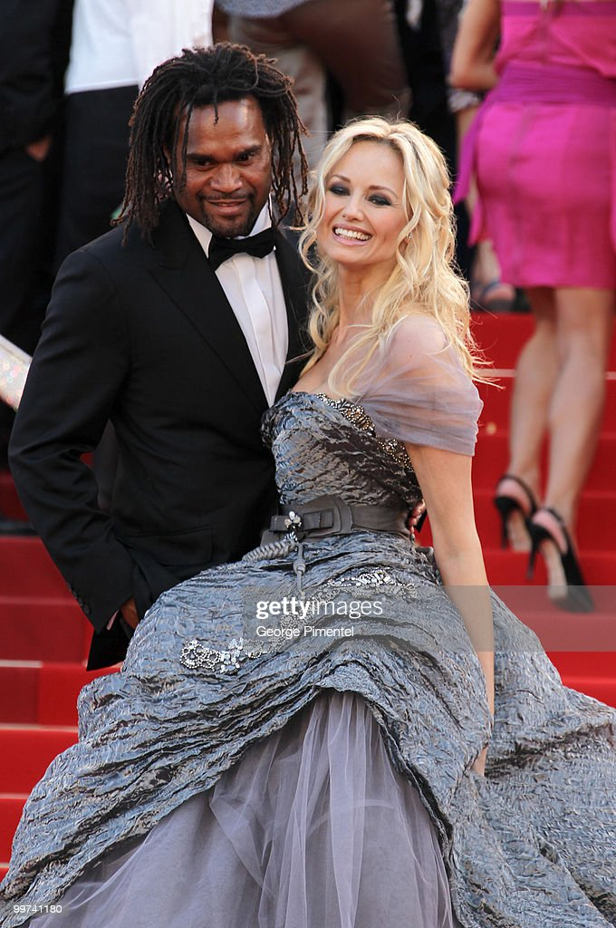 Former footballer Christian Karembeu and model Adriana Karembeu attend the premiere of 'Biutiful' held at the Palais des Festivals during the 63rd Annual International Cannes Film Festival on May 17, 2010 in Cannes, France.