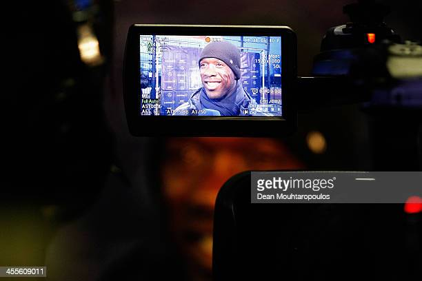 Former footballer, Clarence Seedorf speaks to the media during the Laureus European Workshop and Project Visit held at Almere Echnaton school on...
