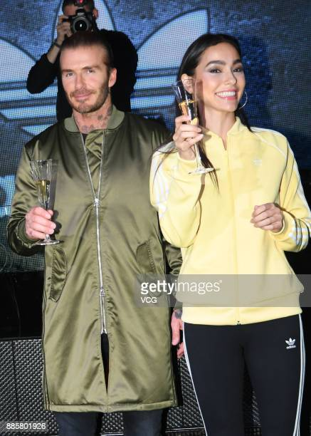 Former footballer David Beckham and model Adrianne Ho attend Adidas Originals event on December 4 2017 in Shanghai China