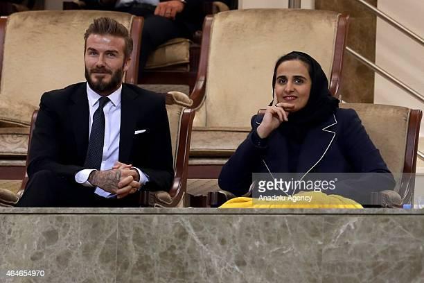 Former footballer David Beckham and Sheikha AlMayassa bint Hamad bin Khalifa AlThani the sister of the Emir of Qatar Sheikh Tamim bin Hamad Al Thani...
