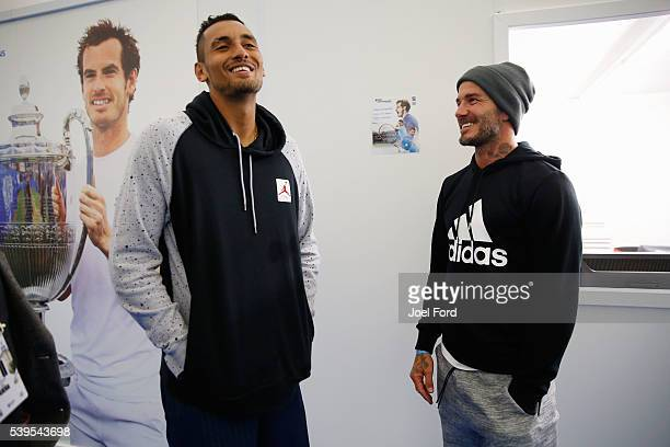 Former footballer David Beckham with tennis player Nick Kyrgios at the Aegon Championships at Queens Club on June 12 2016 in London England