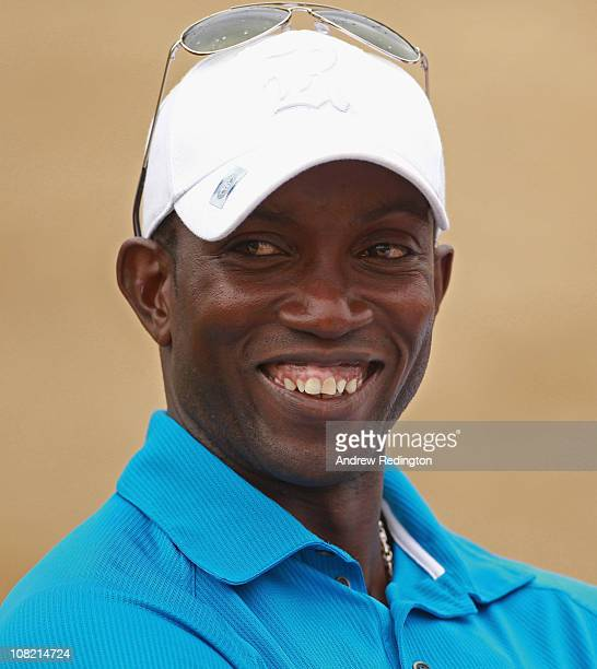 Former footballer Dwight Yorke watches the golf during the second round of The Abu Dhabi HSBC Golf Championship at Abu Dhabi Golf Club on January 21...