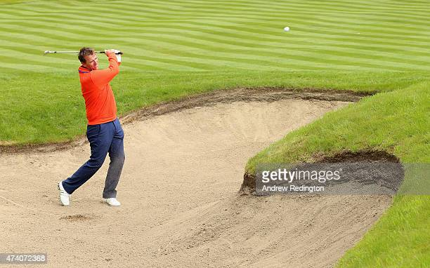 Former Footballer Matt Le Tissier hits from a bunker during the ProAm ahead of the BMW PGA Championship at Wentworth on May 20 2015 in Virginia Water...