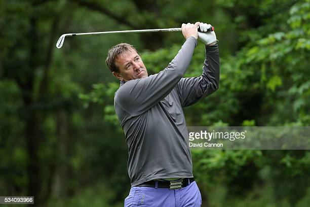 Former footballer Matt Le Tissier tees off during the ProAm prior to the BMW PGA Championship at Wentworth on May 25 2016 in Virginia Water England