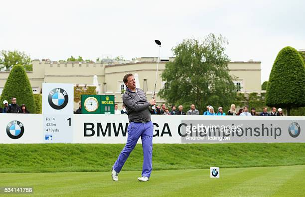 Former footballer Matthew Le Tissier tees off on the 1st hole during the ProAm prior to the BMW PGA Championship at Wentworth on May 25 2016 in...