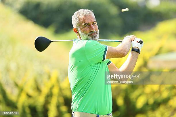 Former footballer Mauro Tassotti tees off during a proam round ahead of the Italian Open at Golf Club Milano on September 14 2016 in Monza Italy