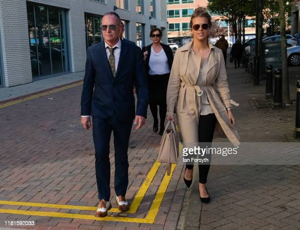 Former footballer Paul Gascoigne arrives at Teesside Crown Court with his personal manager Katie Davies on October 17 2019 in Middlesbrough England...