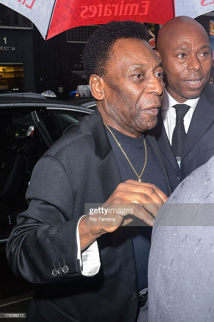 Former footballer Pele enters the Empire State Building on August 1, 2013 in New York City.