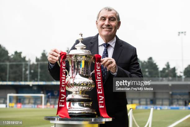 Former footballer Peter Shilton OBE poses with the FA Cup trophy ahead of the FA Cup Fifth Round match between AFC Wimbledon and Millwall at The...