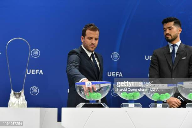 Former Footballer Rafael van der Vaart draws a ball during the UEFA Youth League 2019/20 Play-Off Draw at the UEFA headquarters, The House of...