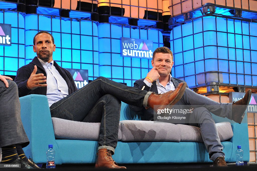 Former footballer, Rio Ferdinand and Irish rugby player Brian O'Driscoll speak on stage about being an ambassadors for BT Sport during the third day of the 2015 Web Summit on November 5, 2015 in Dublin, Ireland. The Web Summit is now in it's 4th year and is technology's most global gathering. In numbers, it has 42,000 attendees from 134 countries, 1,000 speakers, 2,100 startups and 1,200 media.