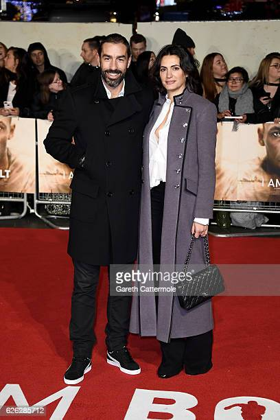 "Former footballer Robert Pires and his wife Jessica Lemarie attend the World Premiere of ""I Am Bolt"" at Odeon Leicester Square on November 28, 2016..."