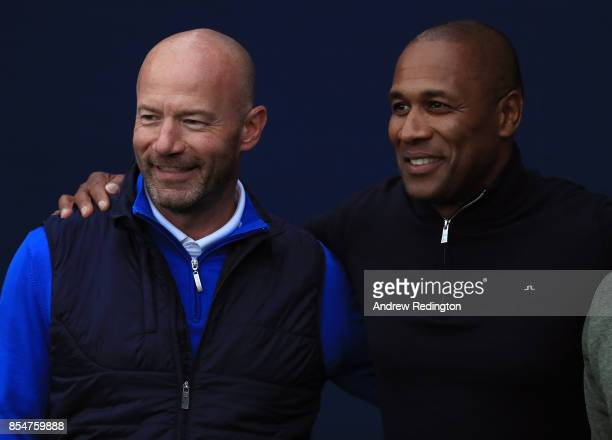 Former footballers Alan Shearer and Les Ferdinand pose for a picture during the pro am ahead of the British Masters at Close House Golf Club on...