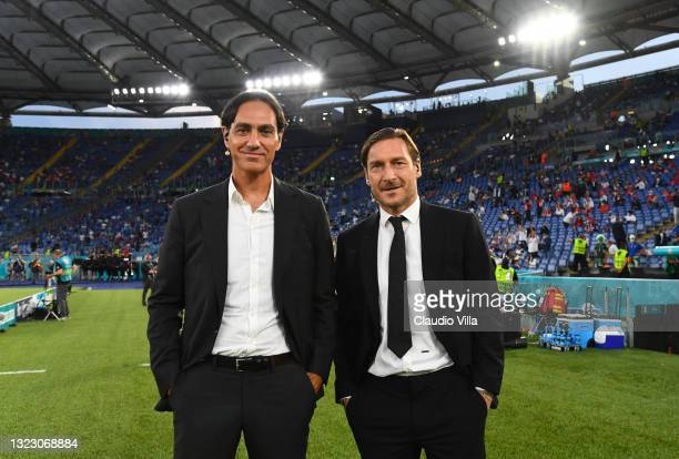 Former Footballers, Alessandro Nesta and Francesco Totti pose for a photo prior to the UEFA Euro 2020 Championship Group A match between Turkey and...