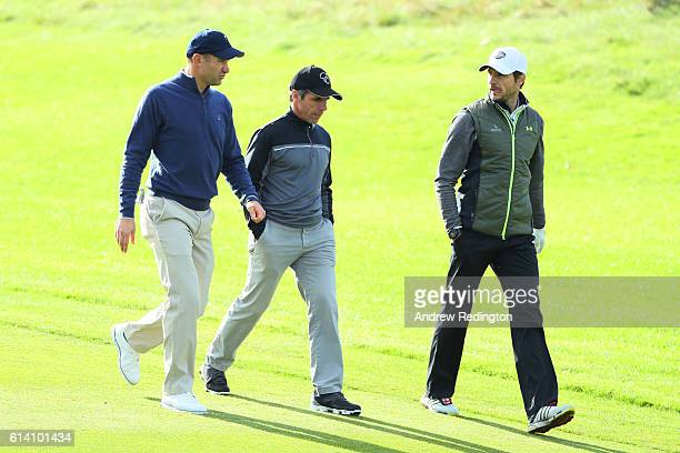 Former footballers Andriy Shevchenko Gianfranco Zola and Carlo Cudicini chat during the Hero ProAm at The Grove on October 12 2016 in Watford England