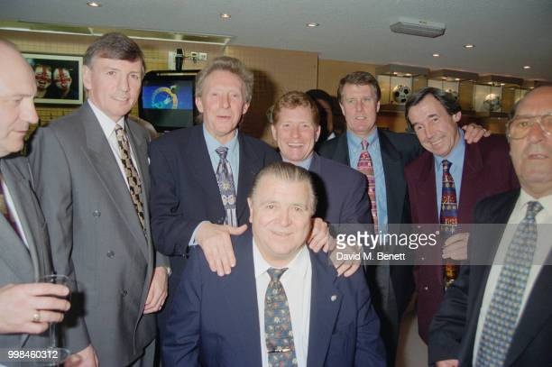 Former footballers at the opening of the Football Football sports bar on Haymarket London 25th March 1996 From second left Martin Peters Denis Law...