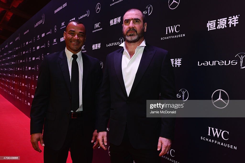 Former Footballers Cafu of Brazil (L) and Eric Cantona of France attend the 2015 Laureus World Sports Awards at Shanghai Grand Theatre on April 15, 2015 in Shanghai, China.