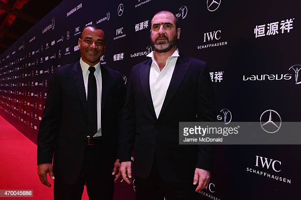 Former Footballers Cafu of Brazil and Eric Cantona of France attend the 2015 Laureus World Sports Awards at Shanghai Grand Theatre on April 15 2015...