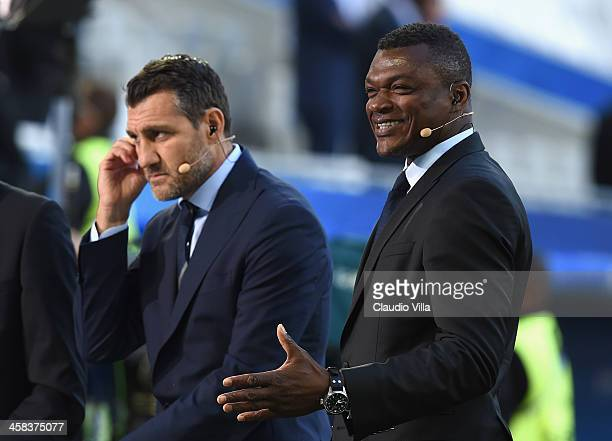 Former footballers Christian Vieri and Marcel Desailly are seen prior to the UEFA EURO 2016 quarter final match between Germany and Italy at Stade...