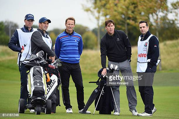 Former footballers Teddy Sheringham and Darren Anderton look on during the Hero ProAm at The Grove on October 12 2016 in Watford England