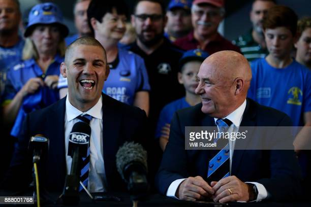 Former Force captain Matt Hodgson and incoming Chairman of Rugby WA John Edwards speak to the media during a Future of Rugby WA Press Conference at...