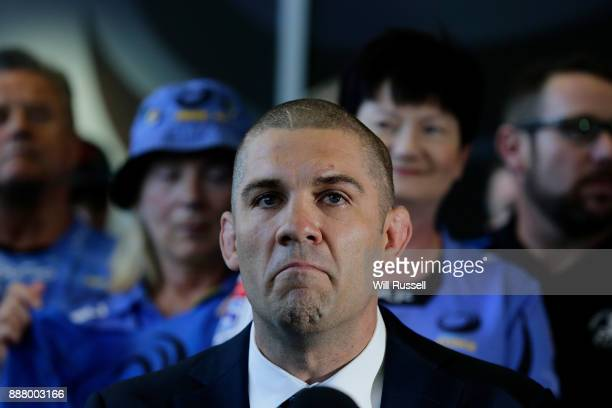 Former Force captain Matt Hodgson looks on as incoming Chairman of Rugby WA John Edwards speak to the media during a Future of Rugby WA Press...