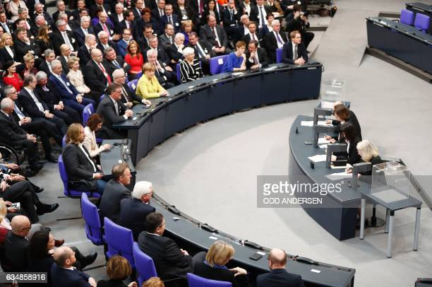 Former foreign minister FrankWalter German Chancellor Angela Merkel Horst Seehofer chairman of the Christian Social Union the CDU's sister party and...