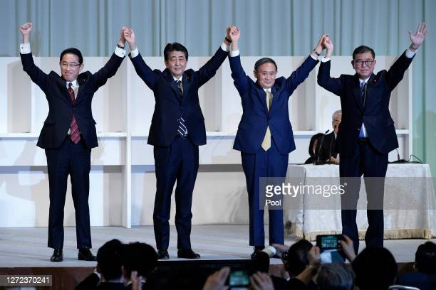 Former Foreign Minister Fumio Kishida Japan's Prime Minister Shinzo Abe Chief Cabinet Secretary Yoshihide Suga and former Defense Minister Shigeru...