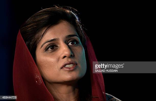 Former Foreign Minister of Pakistan Hina Rabbani Khar speaks during the media event 'Agenda' oraganised by a television channel in New Delhi on...