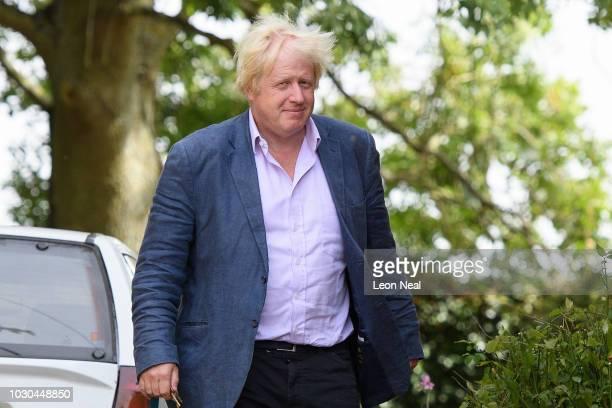 Former Foreign Secretary Boris Johnson arrives at his home on September 10, 2018 in Thame, England.