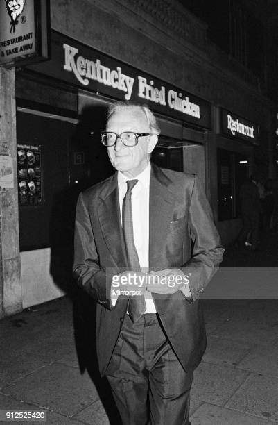 Former Foreign Secretary Lord Carrington pictured leaving the Kentucky Fried Chicken restaurant in Kensington High Street, London where he had a...